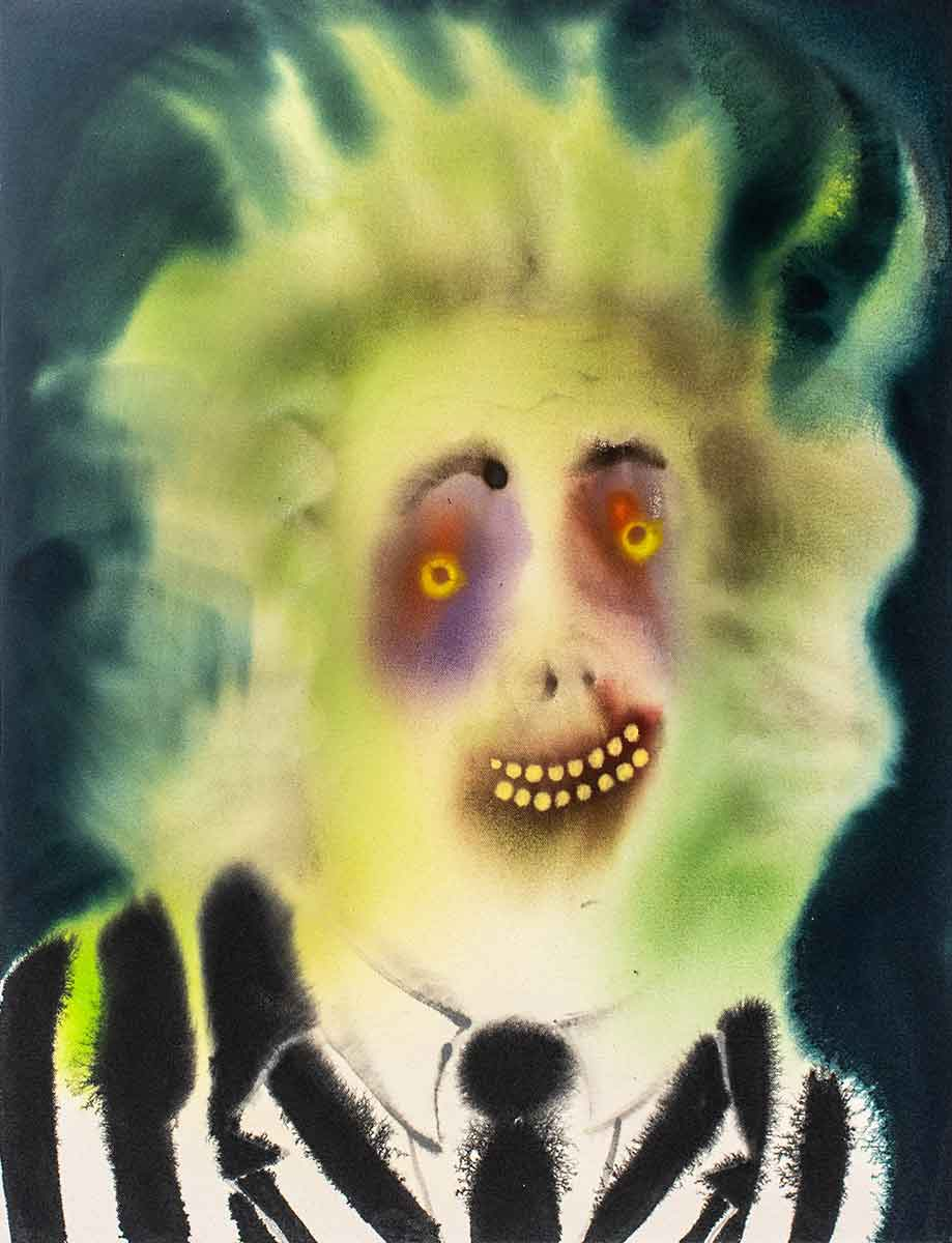 "Aaron Johnson, ""Beetlejuice"", 2020, Acrylic on canvas, 28 x 22 inches"