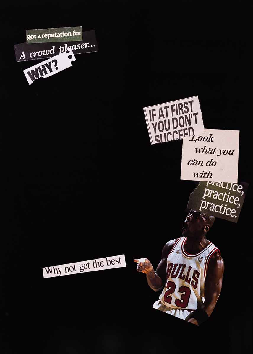 "Adeshola Makinde, ""Why not get the best"", 2019, collage, 10 x 14 inches"