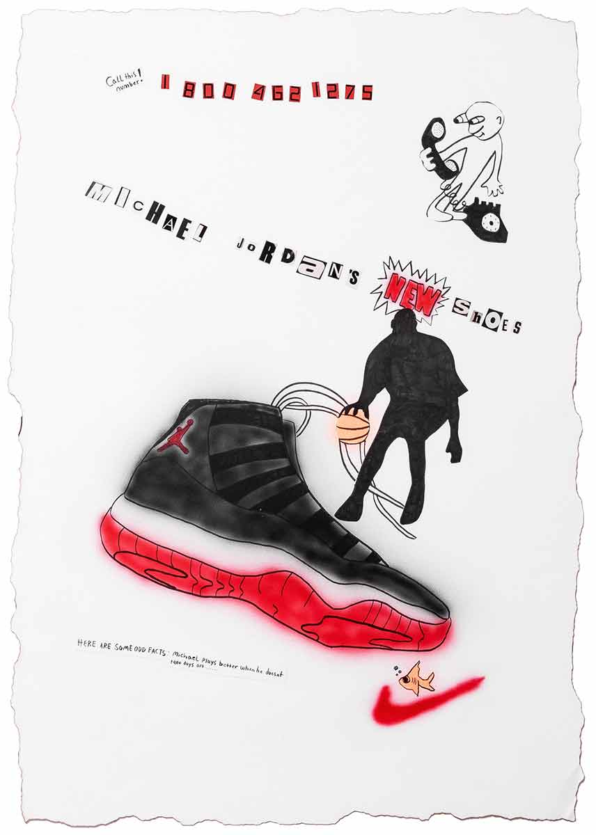 "Corey Damon Black, ""IT MUST BE THE SHOES"", 2019, Acyrlic airbrush, marker, ball point, torched edges on paper, 29 x 41 inches"