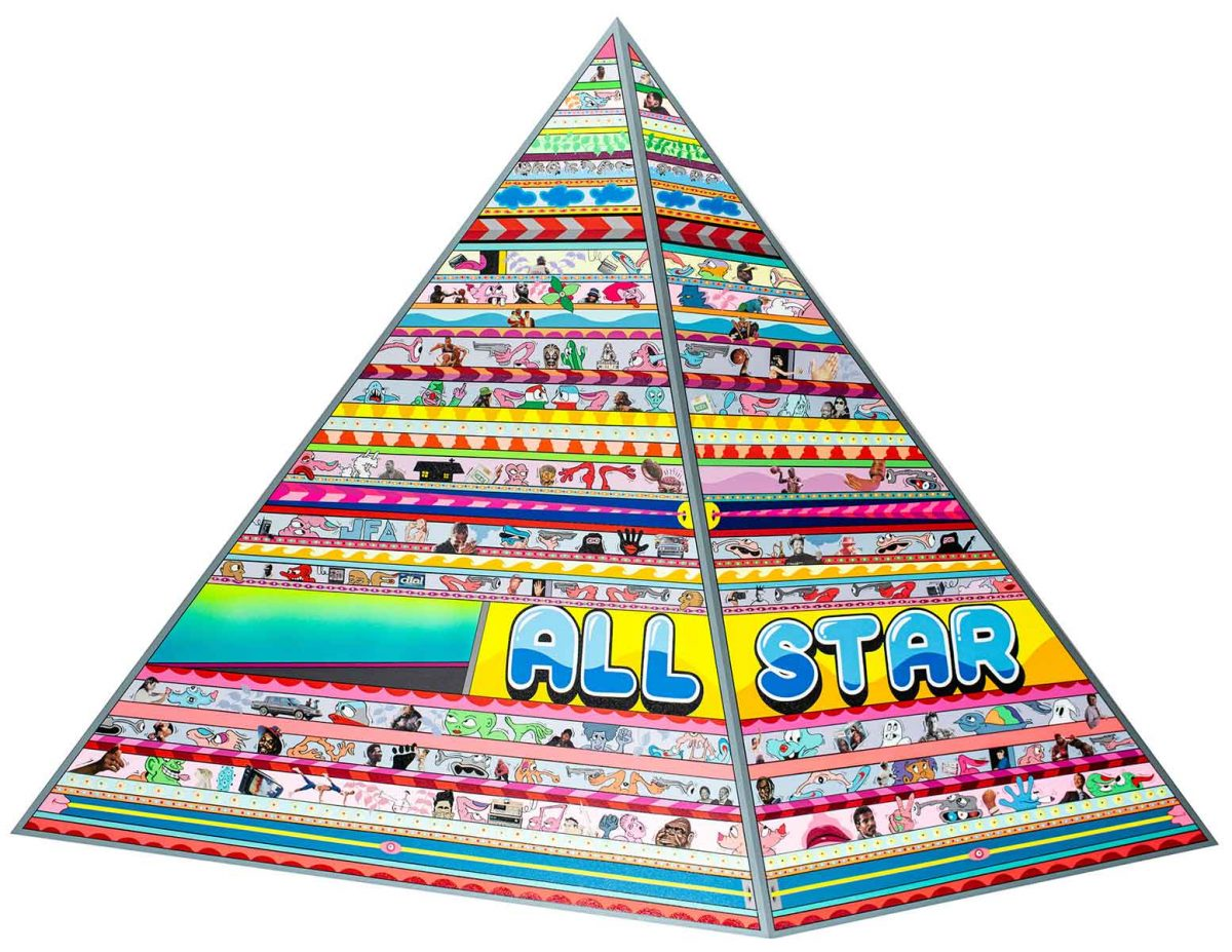 "Erik Parker, ""All Star"", 2020, Acrylic and collage on canvas, 63 x 79.5 inches"