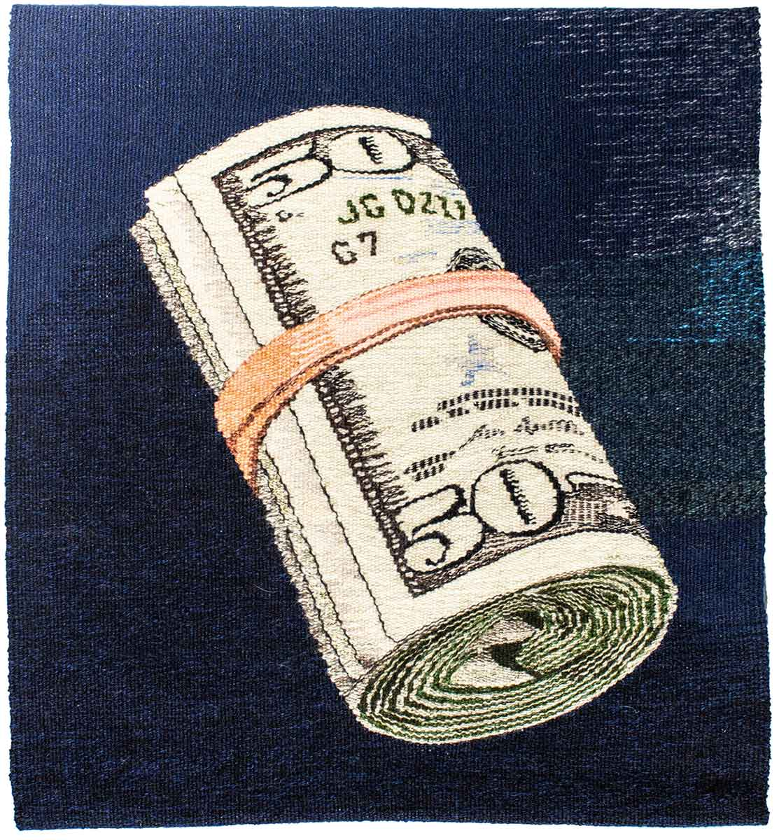 "Erin M. Riley, ""$$"", 2020, Wool and cotton, 24 x 26 inches"