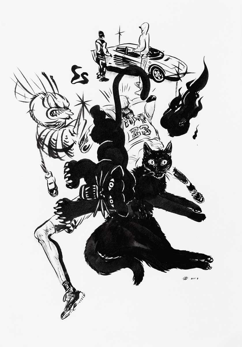 "Yue Wu, ""Black cats composition"", 2019, Ink on watercolor paper 8.27x 11.69 inches"